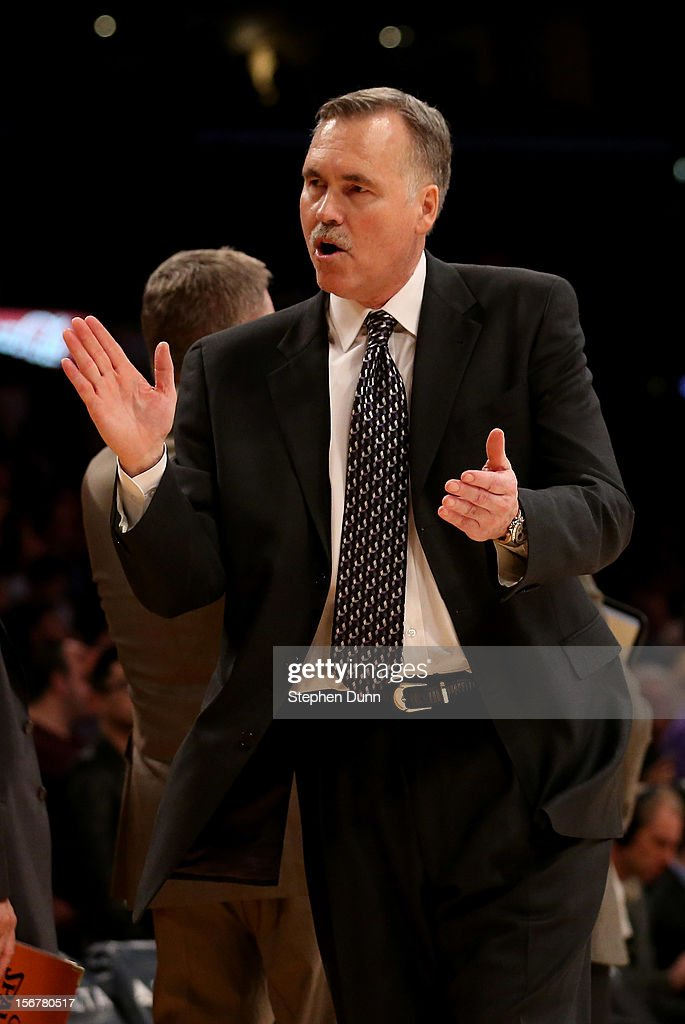 Head coach Mike D'Antoni of the Los Angeles Lakers reacts after the game against the Brooklyn Nets at Staples Center on November 20, 2012 in Los Angeles, California. The Lakers won 95-90.