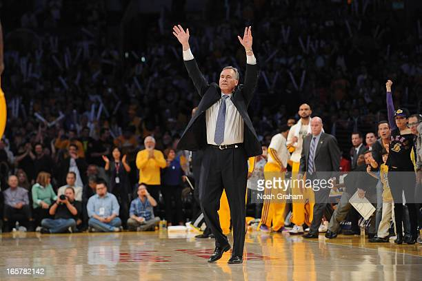 Head Coach Mike D'Antoni of the Los Angeles Lakers reacts as he walks on court during a timeout in a game against the Memphis Grizzlies at Staples...