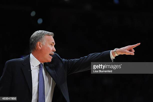 Head coach Mike D'Antoni of the Los Angeles Lakers reacts during the game against the Golden State Warriors at Staples Center on November 22 2013 in...