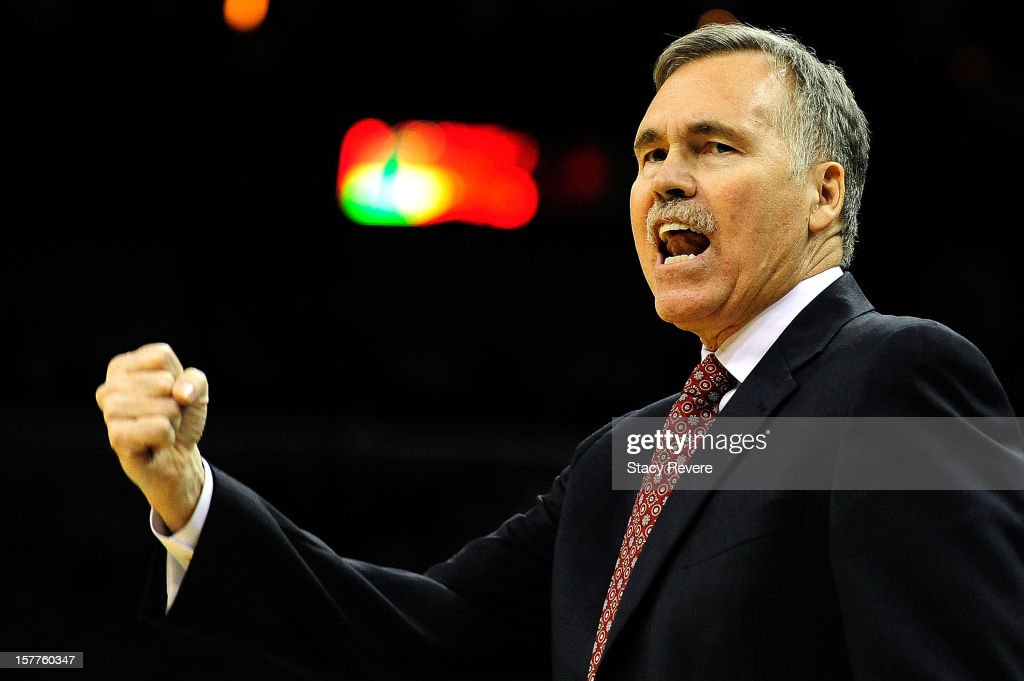 Head coach Mike D'Antoni of the Los Angeles Lakers reacts to an officials call during a game against the New Orleans Hornets at New Orleans Arena on December 5, 2012 in New Orleans, Louisiana.