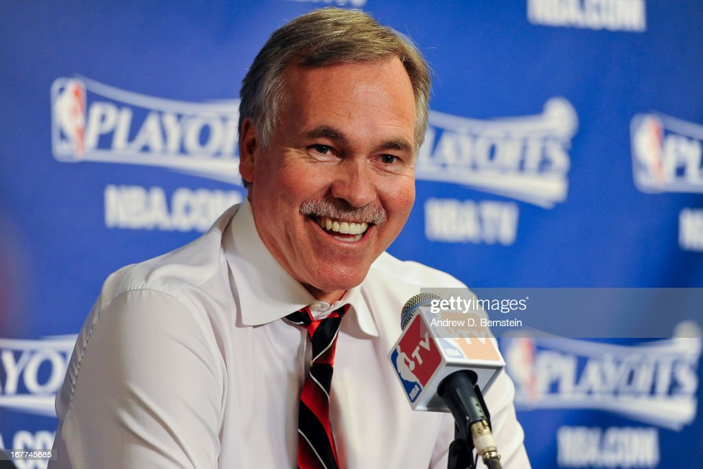 Head Coach Mike D'Antoni of the Los Angeles Lakers speaks following his team's series loss to the San Antonio Spurs in Game Four of the Western Conference Quarterfinals during the 2013 NBA Playoffs at Staples Center on April 28, 2013 in Los Angeles, California.