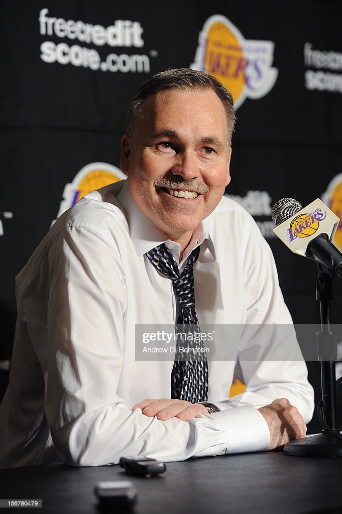 Head coach Mike D'Antoni of the Los Angeles Lakers speaks to members of the media following his team's victory against the Brooklyn Nets at Staples Center on November 20, 2012 in Los Angeles, California.