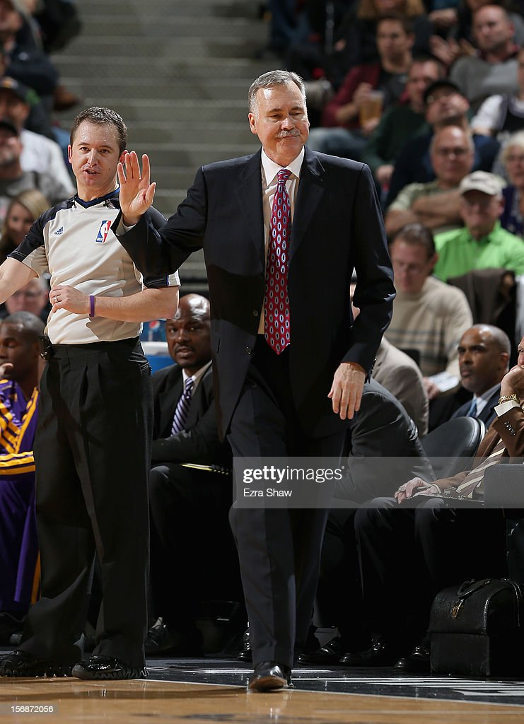 Head coach Mike D'Antoni of the Los Angeles Lakers stands on the sideline during their game against the Sacramento Kings at Power Balance Pavilion on November 21, 2012 in Sacramento, California.