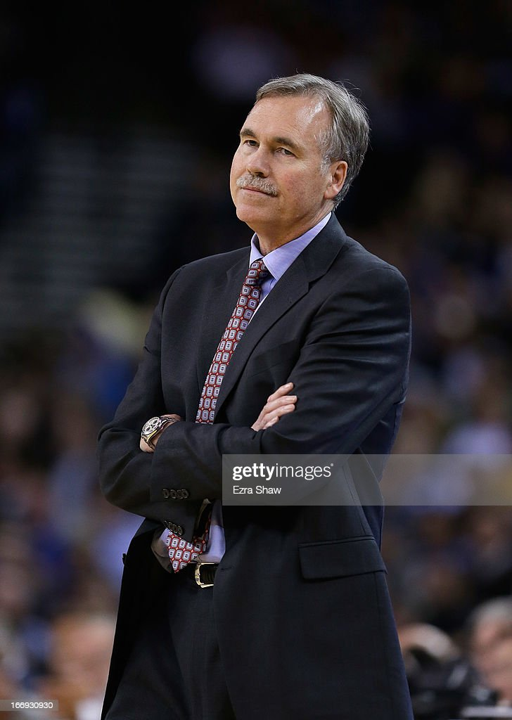 Head coach <a gi-track='captionPersonalityLinkClicked' href=/galleries/search?phrase=Mike+D%27Antoni&family=editorial&specificpeople=203175 ng-click='$event.stopPropagation()'>Mike D'Antoni</a> of the Los Angeles Lakers stands on the side of the court during their game against the Golden State Warriors at Oracle Arena on March 25, 2013 in Oakland, California.