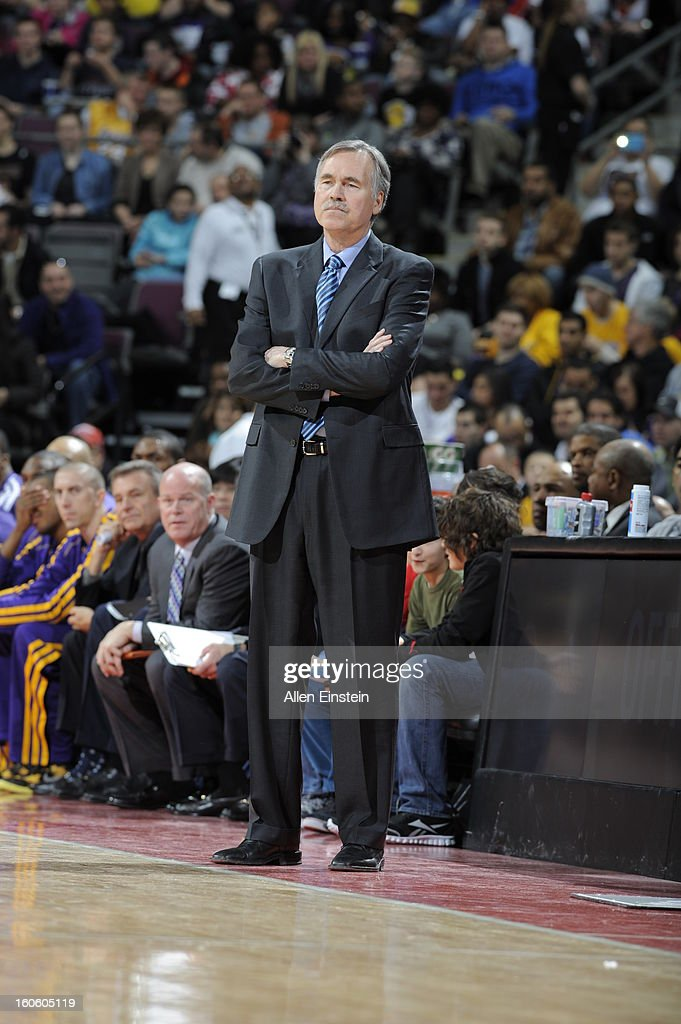 Head Coach Mike D'Antoni of the Los Angeles Lakers watches his team play against the Detroit Pistons during the game on February 3, 2013 at The Palace of Auburn Hills in Auburn Hills, Michigan.