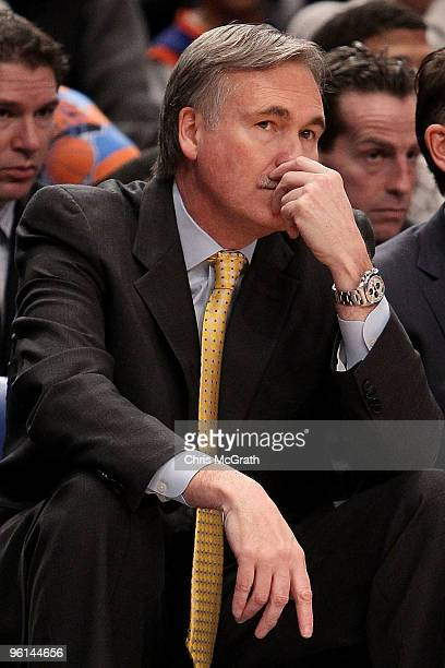 Head coach Mike D'Antoni of the New York Knicks looks on against the Dallas Mavericks at Madison Square Garden January 24 2010 in New York City The...