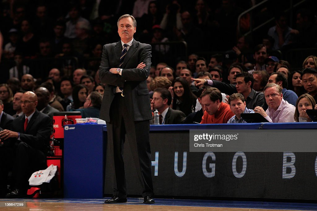 Head coach Mike D'Antoni of the New York Knicks watches his team play the Charlotte Bobcats at Madison Square Garden on January 9, 2012 in New York City.