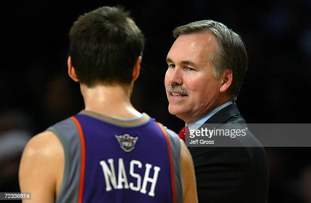 Head coach Mike D'Antoni of the Phoenix Suns talks to Steve Nash during the game against the Los Angeles Lakers on October 31 2006 at Staples Center...