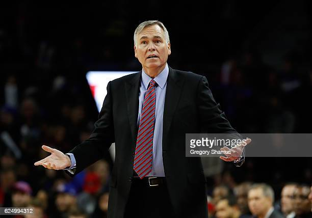 Head coach Mike D'Antoni reacts to a call during the first half while playing the Detroit Pistons at the Palace of Auburn Hills on November 21 2016...