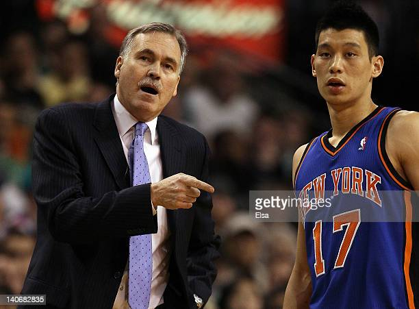 Head coach Mike D'Antoni talks with Jeremy Lin of the New York Knicks on March 4 2012 at TD Garden in Boston Massachusetts The Boston Celtics...