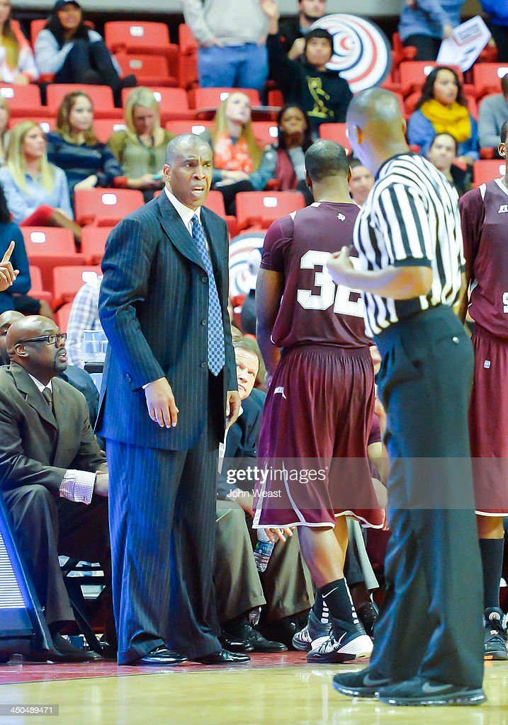 Head coach Mike Davis of the Texas Southern Tigers during game against the Texas Tech Red Raiders on November 18, 2013 at United Spirit Arena in Lubbock, Texas. Texas Tech won the game 80-71.