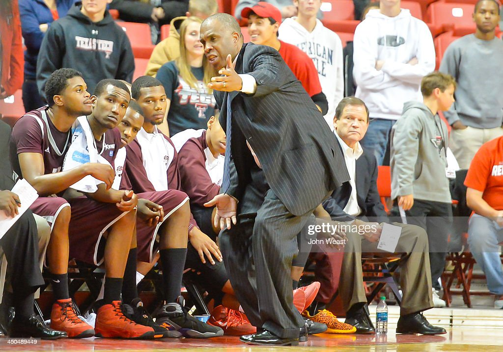 Head coach Mike Davis of the Texas Southern Tigers reacts during game against the Texas Tech Red Raiders on November 18, 2013 at United Spirit Arena in Lubbock, Texas. Texas Tech won the game 80-71.