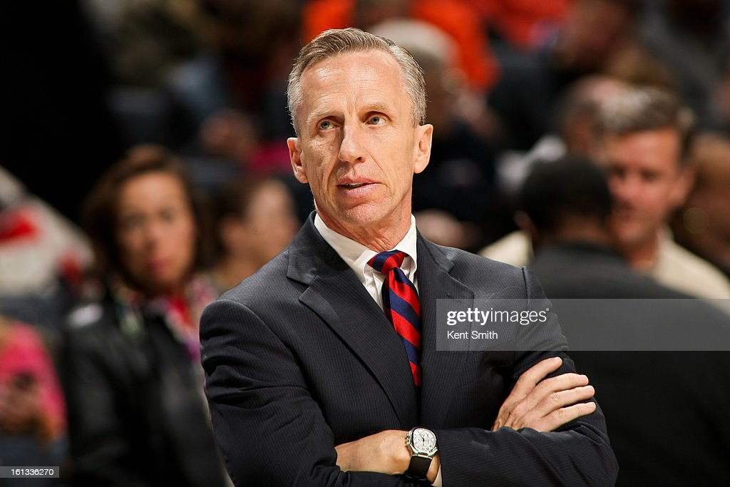 Head Coach <a gi-track='captionPersonalityLinkClicked' href=/galleries/search?phrase=Mike+Dunlap&family=editorial&specificpeople=3957174 ng-click='$event.stopPropagation()'>Mike Dunlap</a> of the Charlotte Bobcats looks on as his team plays the Los Angeles Lakers at Time Warner Cable Arena on February 8, 2013 in Charlotte, North Carolina.