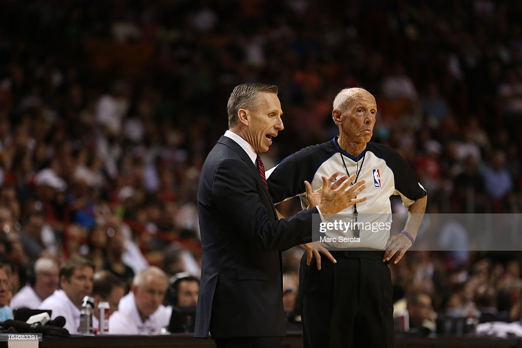 Head Coach <a gi-track='captionPersonalityLinkClicked' href=/galleries/search?phrase=Mike+Dunlap&family=editorial&specificpeople=3957174 ng-click='$event.stopPropagation()'>Mike Dunlap</a> of the Charlotte Bobcats reacts against the Miami Heat at American Airlines Arena on March 24, 2013 in Miami, Florida. The Heat defeated the Bobcats 109-77 to extend their winning streak to 26 games.