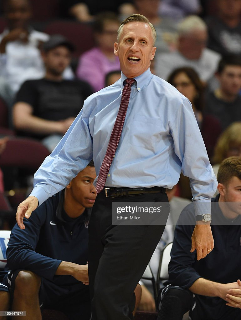 Head coach <a gi-track='captionPersonalityLinkClicked' href=/galleries/search?phrase=Mike+Dunlap&family=editorial&specificpeople=3957174 ng-click='$event.stopPropagation()'>Mike Dunlap</a> of the Loyola Marymount Lions reacts as his team takes on the Santa Clara Broncos during an opening-round game of the West Coast Conference Basketball tournament at the Orleans Arena on March 6, 2015 in Las Vegas, Nevada.