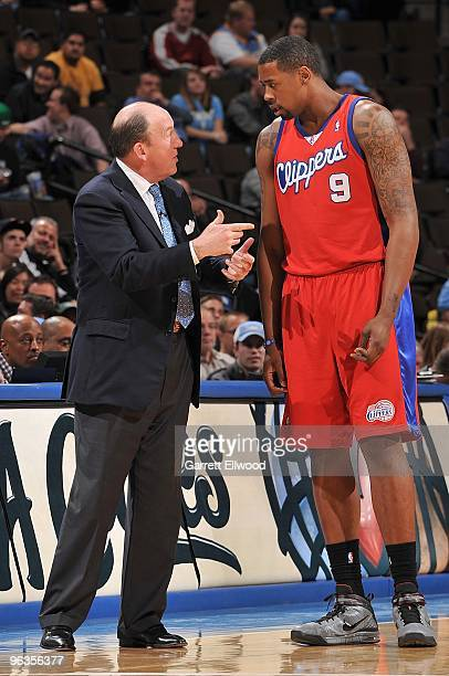 Head coach Mike Dunleavy and DeAndre Jordan of the Los Angeles Clippers talk during the game against the Denver Nuggets on January 21 2010 at the...