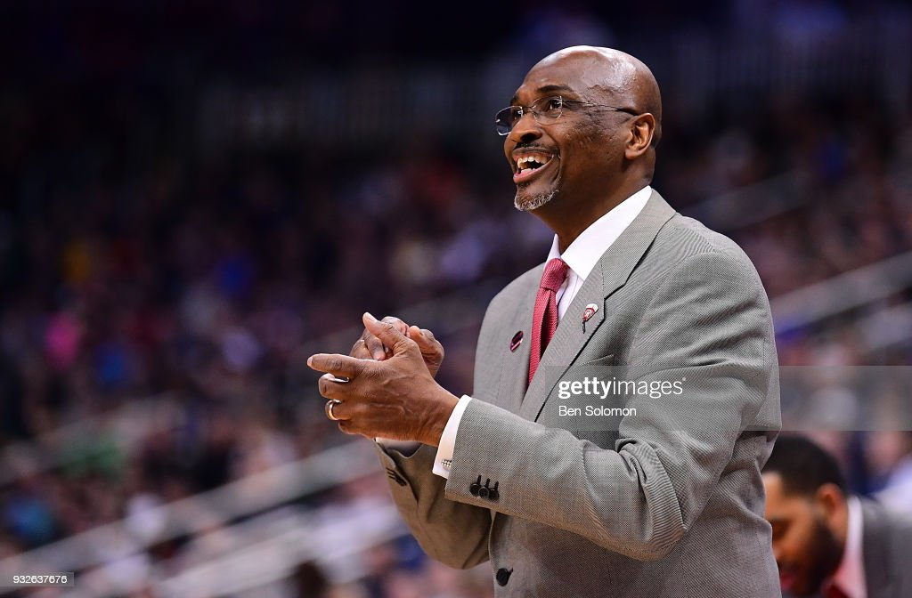 head coach Mike Jones of the Radford Highlanders looks on in the first half during the game against the Villanova Wildcats in the first round of the 2018 NCAA Men's Basketball Tournament held at PPG Paints Arena on March 15, 2018 in Pittsburgh, Pennsylvania.