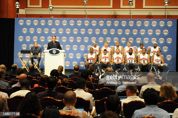 Head Coach Mike Krzyzewski and Chairman Jerry Colangelo of USA Basketball discuss the USA Men's National Team during a press conference on July 7...