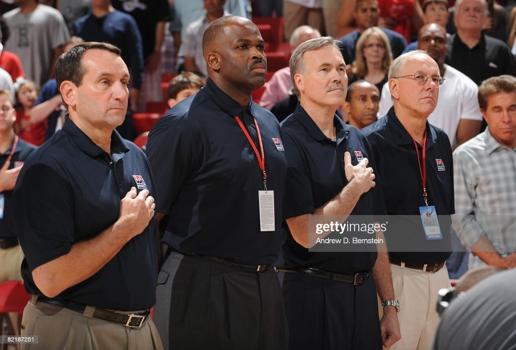 Head coach Mike Krzyzewski, assistant coaches Nate McMillan, Mike D'Antoni and Jim Boeheim of the USA Basketball Men's Senior National Team line up on the court prior to the State Farm USA Basketball Challenge against the Canadian National Team on July 25, 2008 at the Thomas and Mack Center in Las Vegas, Nevada. The USA won 120-65.