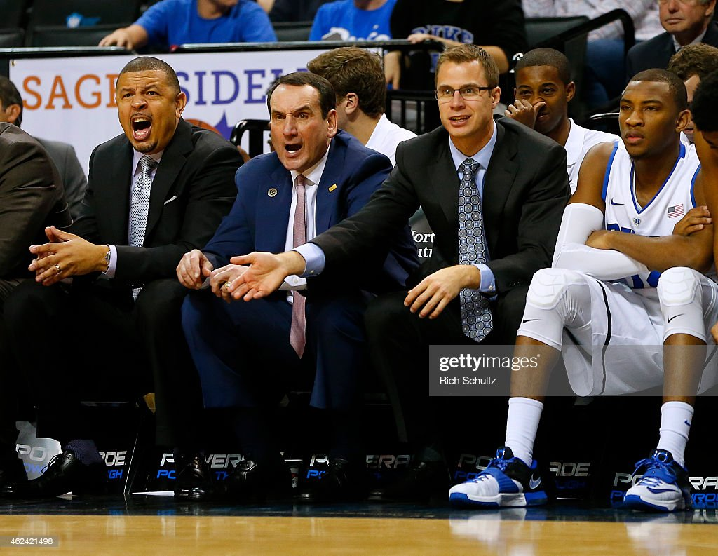 Head coach <a gi-track='captionPersonalityLinkClicked' href=/galleries/search?phrase=Mike+Krzyzewski&family=editorial&specificpeople=213322 ng-click='$event.stopPropagation()'>Mike Krzyzewski</a>, center, of the Duke Blue Devils reacts to a call along with assistants Jeff Capel, left, and <a gi-track='captionPersonalityLinkClicked' href=/galleries/search?phrase=Jon+Scheyer&family=editorial&specificpeople=3847405 ng-click='$event.stopPropagation()'>Jon Scheyer</a>, right, in the second half of a game against the Temple Owls in the Coaches vs Cancer Classic men's basketball tournament at Barclays Center on November 21, 2014 in the Brooklyn borough of New York City.