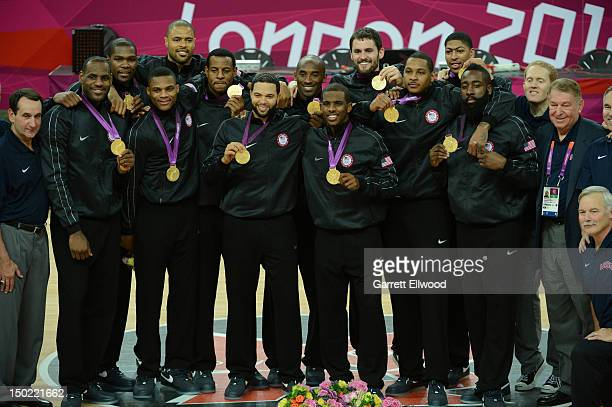 Head coach Mike Krzyzewski LeBron James Kevin Durant Tyson Chandler Russell Westbrook Andre Iguodala Deron Williams Kobe Bryant Chris Paul Kevin Love...