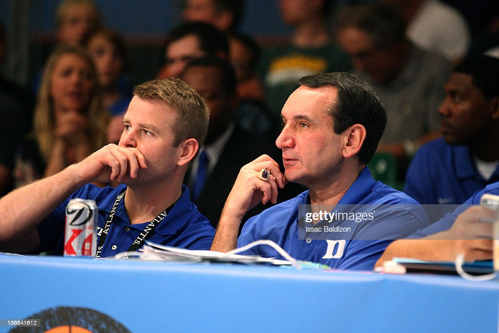 Head Coach <a gi-track='captionPersonalityLinkClicked' href=/galleries/search?phrase=Mike+Krzyzewski&family=editorial&specificpeople=213322 ng-click='$event.stopPropagation()'>Mike Krzyzewski</a> looks on during the Battle 4 Atlantis tournament at Atlantis Resort on November 22, 2012 in Nassau, Paradise Island, Bahamas.