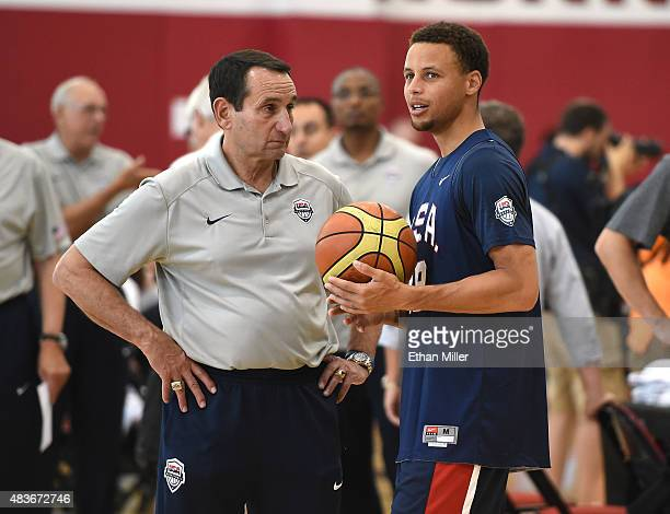 Head coach Mike Krzyzewski of the 2015 USA Basketball Men's National Team talks with Stephen Curry during a practice session at the Mendenhall Center...