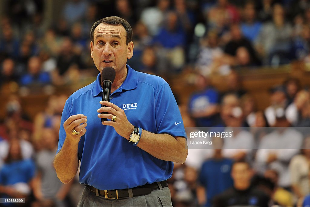 Head Coach <a gi-track='captionPersonalityLinkClicked' href=/galleries/search?phrase=Mike+Krzyzewski&family=editorial&specificpeople=213322 ng-click='$event.stopPropagation()'>Mike Krzyzewski</a> of the Duke Blue Devils addresses the fans during Countdown to Craziness at Cameron Indoor Stadium on October 18, 2013 in Durham, North Carolina.
