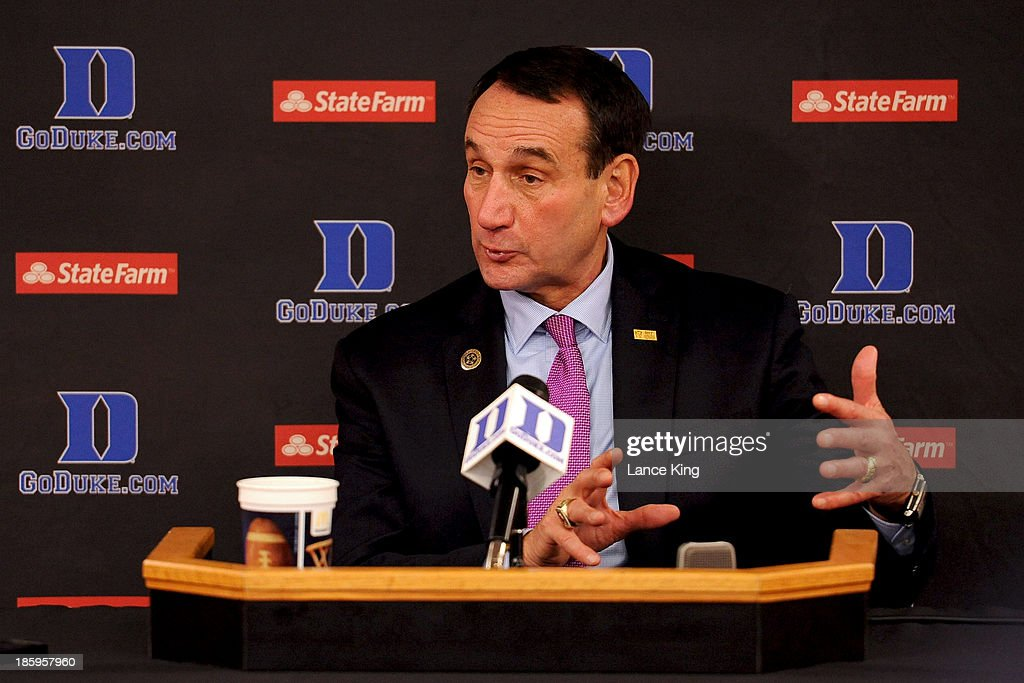 Head Coach <a gi-track='captionPersonalityLinkClicked' href=/galleries/search?phrase=Mike+Krzyzewski&family=editorial&specificpeople=213322 ng-click='$event.stopPropagation()'>Mike Krzyzewski</a> of the Duke Blue Devils addresses the media following their game against the Bowie State Bulldogs at Cameron Indoor Stadium on October 26, 2013 in Durham, North Carolina. Duke defeated Bowie State 103-67.