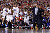 Head coach Mike Krzyzewski of the Duke Blue Devils and his bench react after a play in the second half during the NCAA Men's Final Four National...