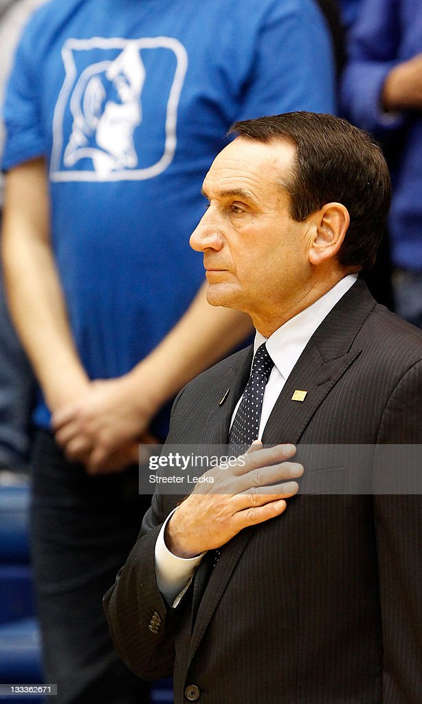 Head coach <a gi-track='captionPersonalityLinkClicked' href=/galleries/search?phrase=Mike+Krzyzewski&family=editorial&specificpeople=213322 ng-click='$event.stopPropagation()'>Mike Krzyzewski</a> of the Duke Blue Devils before their game against the Davidson Wildcats at Cameron Indoor Stadium on November 18, 2011 in Durham, North Carolina.