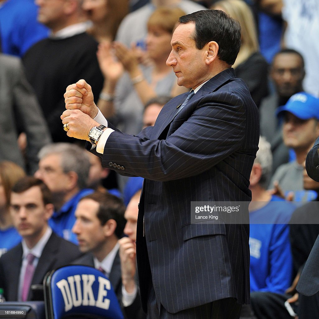 Head Coach Mike Krzyzewski of the Duke Blue Devils calls a play during a game against the North Carolina Tar Heels at Cameron Indoor Stadium on February 13, 2013 in Durham, North Carolina. Duke defeated North Carolina 73-68.