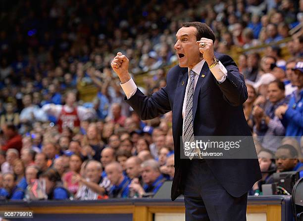 Head coach Mike Krzyzewski of the Duke Blue Devils directs his team during their game against the North Carolina State Wolfpack at Cameron Indoor...