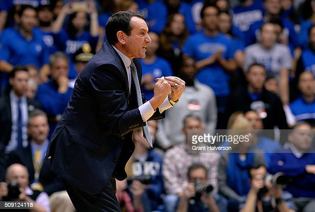 Head coach Mike Krzyzewski of the Duke Blue Devils directs his team during their game against the Louisville Cardinals at Cameron Indoor Stadium on...