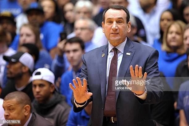 Head coach Mike Krzyzewski of the Duke Blue Devils directs his team against the Virginia Cavaliers at Cameron Indoor Stadium on February 13 2016 in...