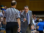 Head coach Mike Krzyzewski of the Duke Blue Devils disagrees with an official during their game against the Presbyterian Blue Hose at Cameron Indoor...