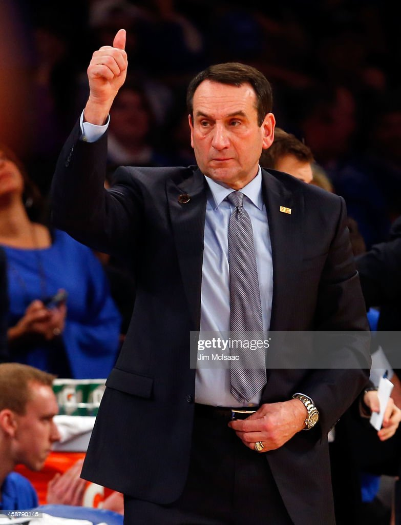 Head coach Mike Krzyzewski of the Duke Blue Devils in action against the UCLA Bruins during the CARQUEST Auto Parts Classic on December 19, 2013 at Madison Square Garden in New York City. Duke defeated UCLA