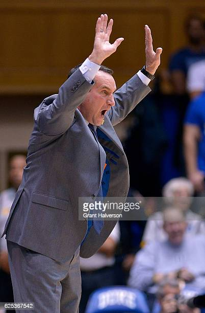 Head coach Mike Krzyzewski of the Duke Blue Devils lobbies the official for a foul to be called against the William Mary Tribe during the game at...