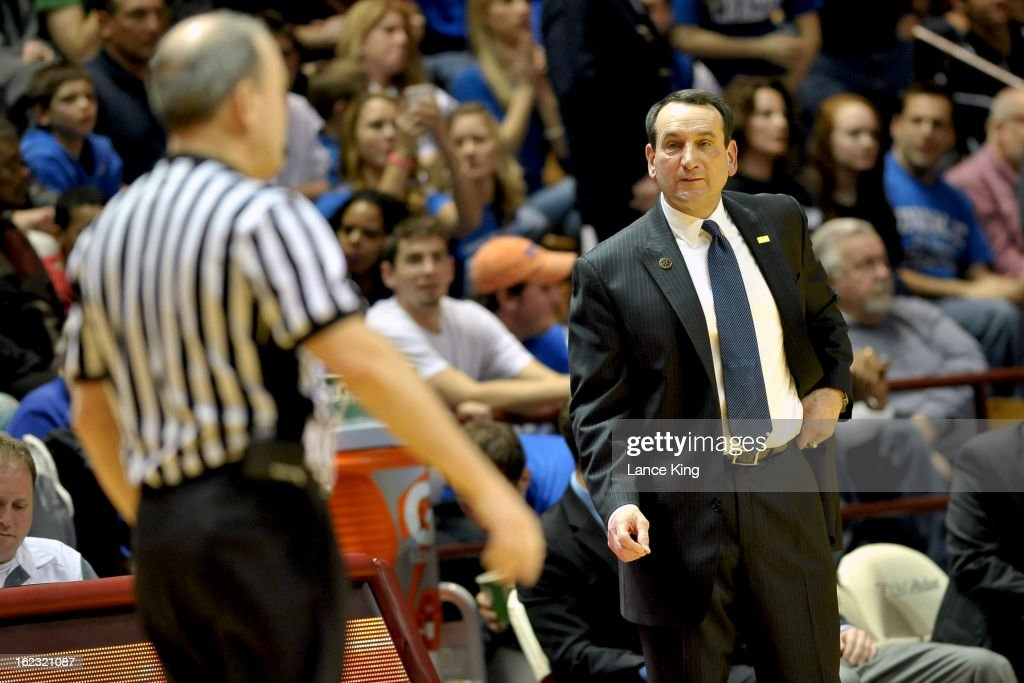 Head Coach Mike Krzyzewski of the Duke Blue Devils looks at a referee during a game against the Virginia Tech Hokies at Cassell Coliseum on February 21, 2013 in Blacksburg, Virginia. Duke defeated Virginia Tech 88-56.