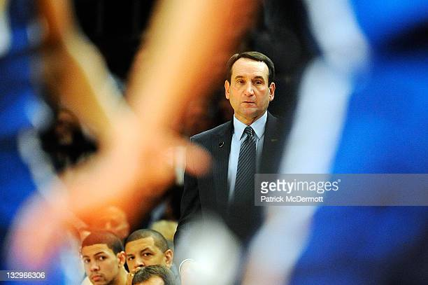 Head coach Mike Krzyzewski of the Duke Blue Devils looks on during a game against the Michigan State Spartans during the 2011 State Farm Champions...