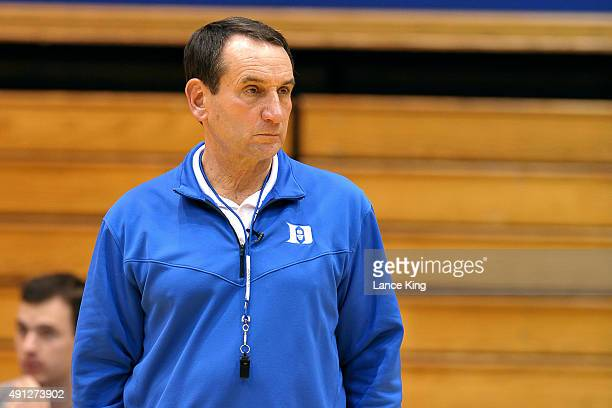 Head Coach Mike Krzyzewski of the Duke Blue Devils looks on during an open practice at Cameron Indoor Stadium on October 2 2015 in Durham North...