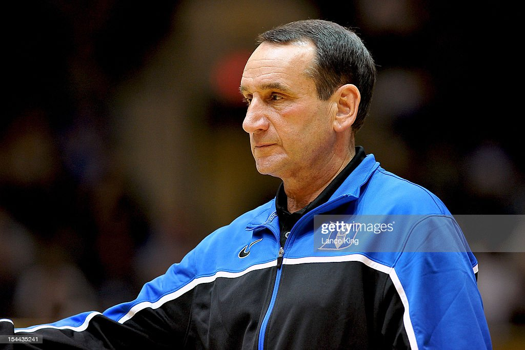 Head Coach <a gi-track='captionPersonalityLinkClicked' href=/galleries/search?phrase=Mike+Krzyzewski&family=editorial&specificpeople=213322 ng-click='$event.stopPropagation()'>Mike Krzyzewski</a> of the Duke Blue Devils looks on during Countdown to Craziness at Cameron Indoor Stadium on October 19, 2012 in Durham, North Carolina.