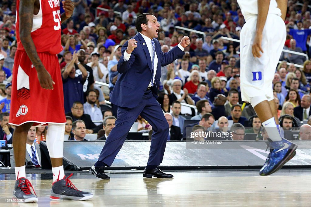 Head coach <a gi-track='captionPersonalityLinkClicked' href=/galleries/search?phrase=Mike+Krzyzewski&family=editorial&specificpeople=213322 ng-click='$event.stopPropagation()'>Mike Krzyzewski</a> of the Duke Blue Devils reacts against the Utah Utes in the second half during a South Regional Semifinal game of the 2015 NCAA Men's Basketball Tournament at NRG Stadium on March 27, 2015 in Houston, Texas.
