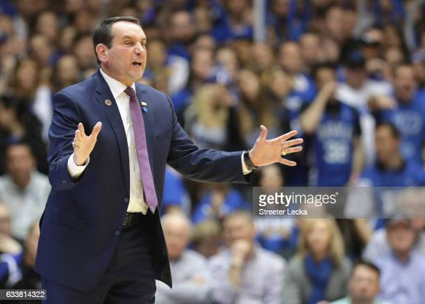 Head coach Mike Krzyzewski of the Duke Blue Devils reacts against the Pittsburgh Panthers during their game at Cameron Indoor Stadium on February 4...