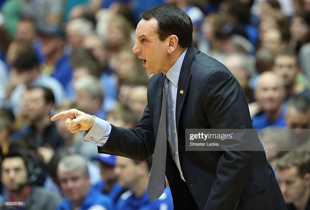 Head coach Mike Krzyzewski of the Duke Blue Devils reacts during their game against the Boston College Eagles at Cameron Indoor Stadium on February 24, 2013 in Durham, North Carolina.