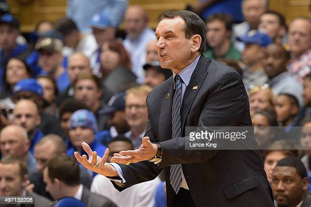 Head Coach Mike Krzyzewski of the Duke Blue Devils reacts during their game against the Siena Saints at Cameron Indoor Stadium on November 13 2015 in...
