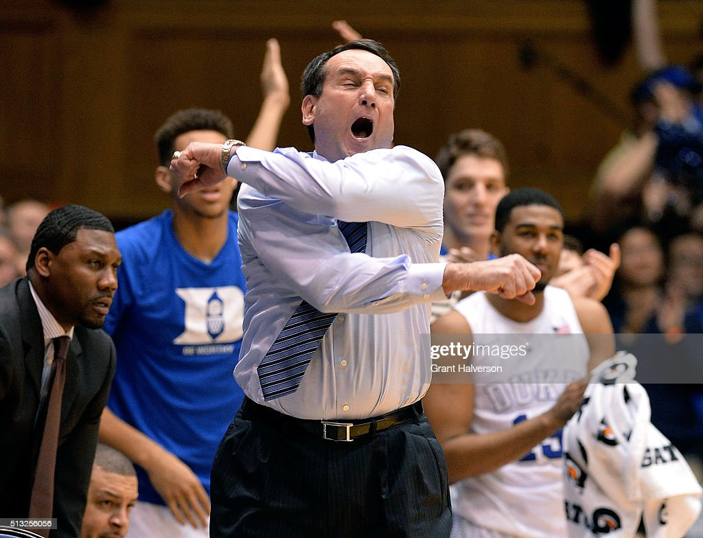 Head coach Mike Krzyzewski of the Duke Blue Devils reacts during their game against the Wake Forest Demon Deacons at Cameron Indoor Stadium on March 1, 2016 in Durham, North Carolina. Duke won 79-71.