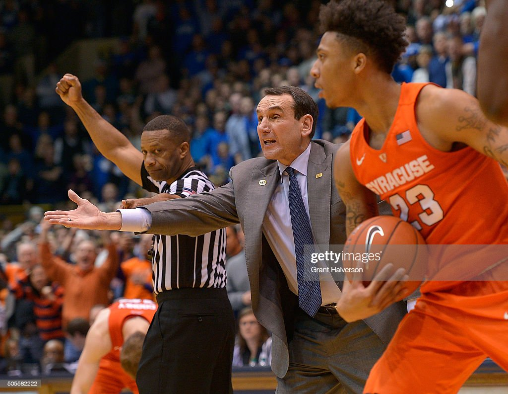 Head coach <a gi-track='captionPersonalityLinkClicked' href=/galleries/search?phrase=Mike+Krzyzewski&family=editorial&specificpeople=213322 ng-click='$event.stopPropagation()'>Mike Krzyzewski</a> of the Duke Blue Devils reacts during the finals few seconds of their loss to the Syracuse Orange at Cameron Indoor Stadium on January 18, 2016 in Durham, North Carolina. Syracuse won 64-62.
