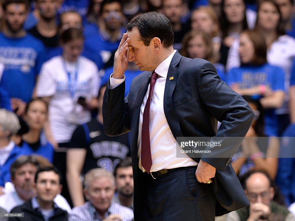 Head coach Mike Krzyzewski of the Duke Blue Devils reacts during their loss to the Miami Hurricanes at Cameron Indoor Stadium on January 13 2015 in...