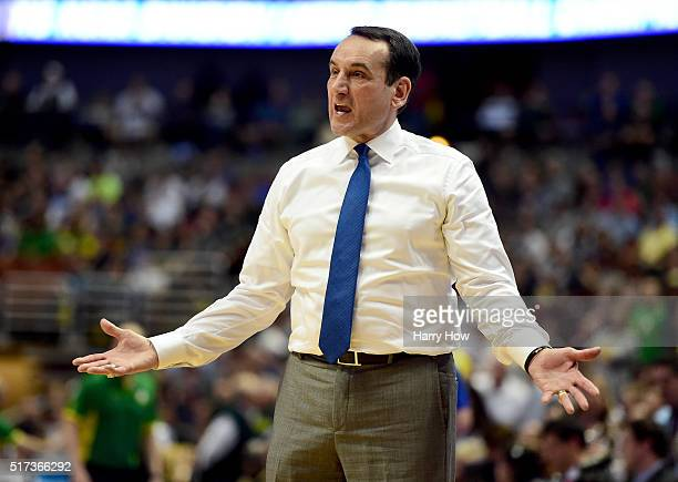 Head coach Mike Krzyzewski of the Duke Blue Devils reacts in the second half while taking on the Oregon Ducks in the 2016 NCAA Men's Basketball...